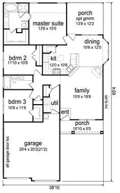 First Floor Plan of Craftsman   House Plan 69912