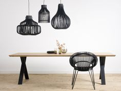 Black Endless, Firefly and Bulb pendant lamps by Vincent Sheppard with ALBERT table. Commercial Interior Design, Interior Design Companies, Rattan Lampe, Slots Decoration, Modern Furniture, Furniture Design, Dining Chairs, Dining Table, Contemporary Chairs