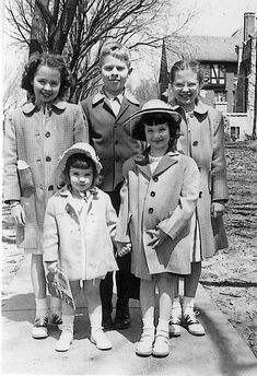 Heading to church... Four sisters and their brother look mighty spiffy on Easter morning! <> 1950's photo