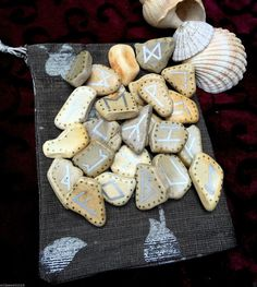 Sea Pottery Runes. Cornish RUNES Stones & Pouch PAGAN Druid Viking Elder…