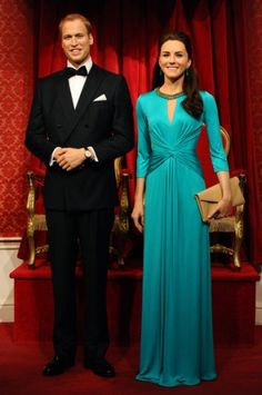 Noblesse&Royautés:  Madame Tussaud's Wax Museum unveiled the wax models of the Duke and Duchess of Cambridge dressed in evening wear, London, July 2, 2014