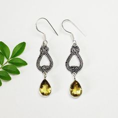 – a unique product by Midas-Jewelry on DaWanda Citrine Earrings, Citrine Gemstone, Sterling Silver Dangle Earrings, Drop Earrings, Dangles, Jewellery, Gemstones, Trending Outfits, Unique Jewelry