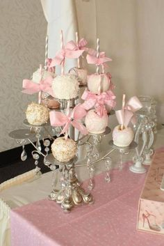 white candelabra from mom for cake pop stand