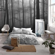 This one-of-a-kind decorative mural features a photo print of a forest blanketed in fog that creates an enchanting mystical ambiance. Printed in super HD on High quality ecological paper, easy to apply and remove. Bedroom Inspo, Bedroom Decor, Wall Decor, Dream Bedroom, Master Bedroom, Forest Mural, Wallpaper Samples, New Room, House Design
