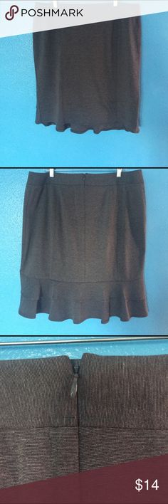 Lane Bryant grey pencil skirt This 18W grey Lane Bryant pencil skirt has seaming and ruffles in the back that accentuate and flatter! This Mad Men style skirt has a back zipper and hook enclosure, is a soft comfortable knit worth a little stretch and is perfect with boots or heels! Laid flat approximately 24 inches from waist to hem. Very gently used and from a smoke free home. Lane Bryant Skirts Mini