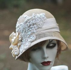 1920's Great Gatsby Vintage Style Wedding Hat  Lace Pearls Sequins Ivory Straw for Summer