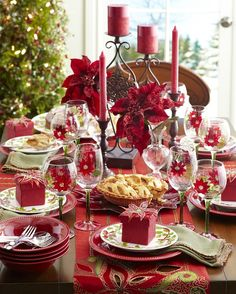 Bring a plethora of poinsettias to the Table with Pier 1 Poinsettia Glasses and Jubilance Embroidered Poinsettia Table Runner