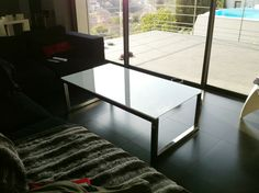 Stainless steel Coffee Table with white gloss paint glass.