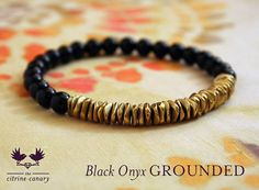 Schwarzer Onyx geerdet Mala Armband / Black Onyx Edelstein-Armband mit Messing-Akzenten