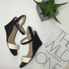 "Selling this ""Black & White ""Kellen"" Wedge Sandals"" in my Poshmark closet! My username is: triplyksis. #shopmycloset #poshmark #fashion #shopping #style #forsale #JustFab #Shoes"