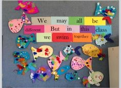 Rainbow Fish community building activity We May All Be Different… Teaching Photos Beginning Of School, First Day Of School, Pre School, Back To School, Swim School, School Displays, Classroom Displays, Classroom Organization, Display Boards For School