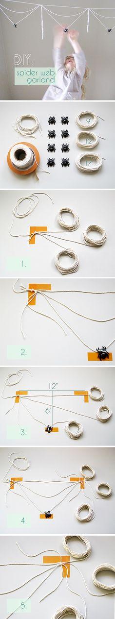 DIY Tutorial : Cotton twine spider web garland for Halloween Decor / Party