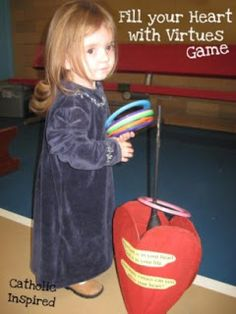 Catholic Inspired ~ Arts, Crafts, and Activities!: Fill Your Heart with Virtue ~ Ring Toss Game Catholic Crafts, Catholic Kids, Valentines Day Party, Valentine Crafts, Valentine Cupid, Valentine Ideas, Summer Camp Art, Valentine's Day Party Games, American Heritage Girls