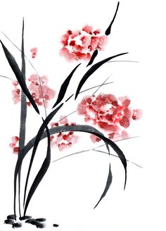 Illustration about Traditional ink Chinese painting of flowers. Illustration of artwork, image, spring - 30514202 Japanese Painting, Chinese Painting, Japanese Art, Sumi E Painting, Watercolor Paintings, Asian Artwork, Art Asiatique, Traditional Ink, Thinking Day