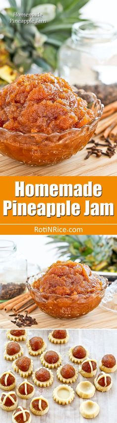 This golden Homemade Pineapple Jam is the perfect filling for mini tarts and thumbprint cookies with just the right amount of sweetness and tartness. Jam Recipes, Asian Recipes, Gluten Free Recipes, Sweet Recipes, Dessert Recipes, Cooking Recipes, Ethnic Recipes, Chinese Recipes, Pineapple Jam