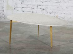 Corso Zelfa Kidney Bean coffee table (white marble w/ gold leg) - SOLD OUT Coffee Table Gold Legs, Coffee Tables, Kidney Beans, Accent Furniture, White Marble, Gold Leaf, Dining Table, Interiors, Boho