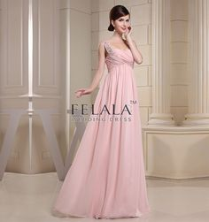Spring/Summer Young&Sexy Blushing Pink Chiffon Empire Floor Length Sweetheart Off Shoulder Long Bridesmaid Dress With Beaded Ruche