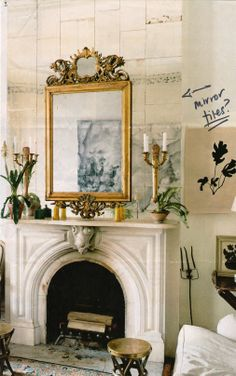 living room: mirrors over mantel, for light, drama and amplification of views...