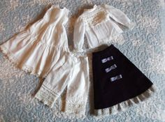 Lovely batiste and velvet outfit and cotton interior wear for antique doll