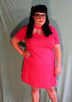 Hot Pink Glittery Collar Mod Minidress Plus by PinkBubblegumPop, $35.00
