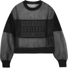 Alexander Wang Parental Advisory mesh and jersey sweatshirt ($585) ❤ liked on Polyvore featuring tops, hoodies, sweatshirts, shirts, black, short shirts, black sweat shirt, alexander wang sweatshirt, pattern shirts and mesh shirt