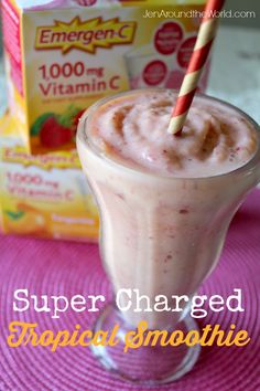 Today I am sharing a delicious super charged smoothie recipe with you. I made this using Emergen-C that I picked up on my regular grocery run at Walmart. Click over to get the recipe and find out how you can start your mornings off right too Fruit Smoothie Recipes, Smoothie Ingredients, Yummy Smoothies, Eat Breakfast, Breakfast Recipes, Dessert Recipes, Vitamin C Drinks, Sugar Detox Diet, Healthy Fruits