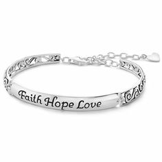 Silver Faith, Hope, Love Bracelet - jcpenney - possible weddingparty gift - i could get the inside engraved with the date or something.... thoughts?