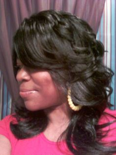 Black Weave Hairstyles | long layered and feathered wig hairstyle for black women