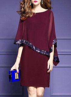 Plus Size Elegant Burgundy Sequins Asymmetric Cape Sleeve Sheath Chiffon Dress Elegant Dresses, Beautiful Dresses, Casual Dresses, Fashion Dresses, Formal Dresses, Fashion Styles, Prom Dresses, Fashion Trends, Bodycon Dress With Sleeves