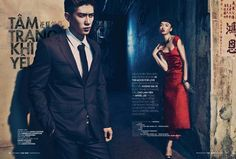 """""""In the Mood for Love""""   Cao Lam Vien & Angel Lee.  Photo by An Le  Elle Man Vietnam"""