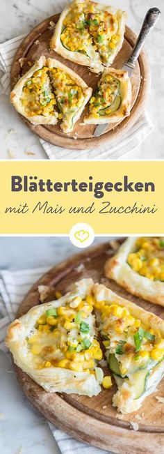 Puff pastry with corn, zucchini and mozzarella- Blätterteigecken mit Mais, Zucchini und Mozzarella These dough pieces are plastered and prepared as fast as possible. Puff pastry is the base, the whole thing is topped with zucchini, corn and mozzarella. Puff Pastry Recipes, Pizza Recipes, Vegetarian Recipes, Snack Recipes, Cooking Recipes, Puff Pastries, Low Calorie Pizza, Polenta, Thanksgiving Recipes