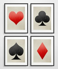 Set of 4 playing cards art prints. Graphic and bold they will enhance any space. This set in large sized limited editions: http://www.etsy.com/listing/157578618 • Available sizes: 8x10, 11x14, 12x16, 13x19 and 16x20 • 1/4 inch white border included in size • Printed on 100% cotton, 330gsm, archival matte finish paper • Printed with rich archival pigment inks • FRAME NOT INCLUDED ----- SHIPPING ----- All prints will be mailed in a protective cello sleeve and a sturdy cardboard mailer. Your...