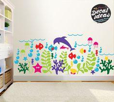 Sea Wall Decal | Wall Decals Nursery | Wall Decal kids | Aquarium Wall Decals | Under the Sea Wall Decals | Ocean Wall Decals