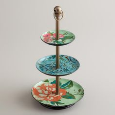 Blue Enameled Three-Tiered Jewelry Stand / World Market