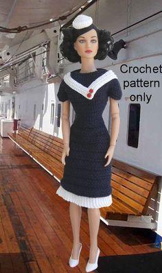 Crochet pattern (PDF) for 16-inch fashion doll - Yacht Club - a 1930s sailor…
