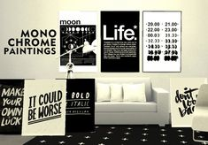 Pure Sims: Monochrome paintings • Sims 4 Downloads