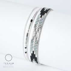 IDÉE CADEAU NOËL Bracelet tissé en perles miyuki / Perles argentées en plaquées Argent 925   Bracelet 100% fait à la main en France !!  ► DESCRIPTION   Longueur du br - 16700641