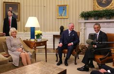 camillasgirlviahrhroyalty: Visit to the United States, March 19, 2015-The Prince of Wales and Duchess of Cornwall with U.S. President Barack Obama and Vice President Joe Biden (not pictured) in the Oval Office at the White House