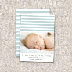 Baby Boy Birth Announcement Blue Stripes, Modern Photo Birth Announcement. Custom Baby Boy Announcement, Photo Card. $14.95, via Etsy.