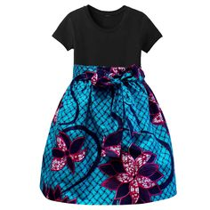 Abina African Print Full Skirt for Little Girls (Turquoise/Pink Flower – D'IYANU