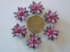 2 Hole Slider Beads Petaled Flower Pink Crystal Made with Swarovski Elements #6