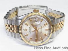 Cool Vintage Pie Pan Dial 1970s 1601 Mens Rolex Datejust Gold Steel Watch #Rolex #LuxurySportStyles