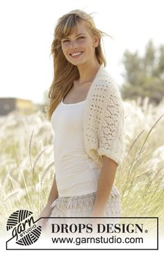 """Midsummer - Shoulder piece with lace pattern in """"Baby Merino"""" and """"Kid-Silk"""". Size: S - XXXL. - Free #knitting pattern by DROPS Design"""