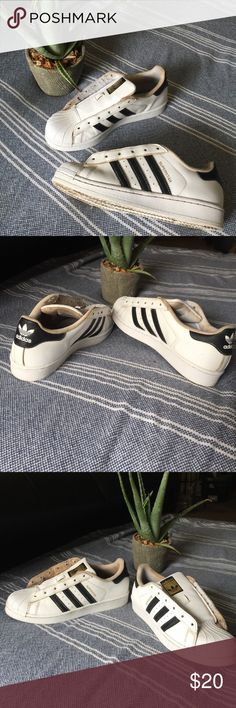Addidas superstar Stepped in a mud puddle cleaned them the best I could NEED NEW LACES OUTISDE LOOKS GOOD INSIDE NOT SO HOT adidas Shoes Sneakers