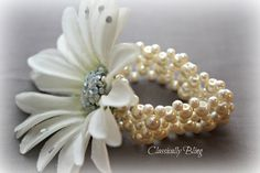 Daisy Corsage on Pearl Elasticated Bracelet by ClassicallyBling, £5.49