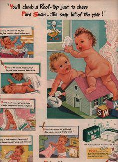 vintage baby soap 1945 advertisement swan soap. $14.95, via Etsy.