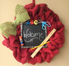 """Back to school/Teacher burlap wreath available now <a href=""""http://www.etsy.com/shop/pinkladybugcreations"""" rel=""""nofollow"""" target=""""_blank"""">www.etsy.com/...</a>"""