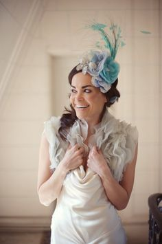 Sea Spray - Bridal or special occasion mini hat, fascinator, silk hand dyed flowers - Made to Order $380