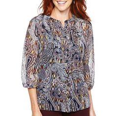 Liz Claiborne 3/4-Sleeve Pintuck Top - jcpenney $12