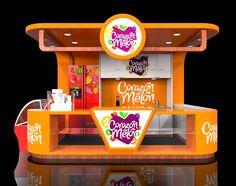 Melon Heart Kiosk- Kiosco corazon de melón Melon Heart Kiosk on Behance - Juice Bar Design, Food Cart Design, Coffee Shop Counter, Cafe Counter, Kiosk Design, Cafe Design, Stand Design, Booth Design, 3d Design
